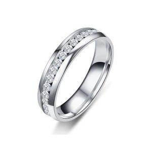 Stainless Steel White Crystal 6mm Ring Unisex